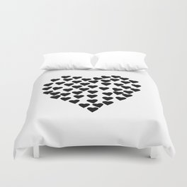 Hearts Heart Black and White Duvet Cover