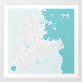 Minimalist Modern Map of Doha, Qatar 4A Art Print
