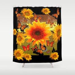 Golden Yellow  Red Sunflowers Black art Butterflies Shower Curtain
