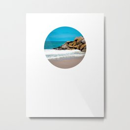 The Ocean Rocks! (Small image on Large Background) Metal Print