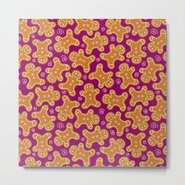 Gingerbread Men on Purple Metal Print