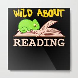 Wild About Reading Iguana Lizard Reptile Metal Print