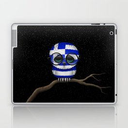 Baby Owl with Glasses and Greek Flag Laptop & iPad Skin
