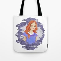 lydia martin Tote Bags featuring Lydia Martin by amanda herzman