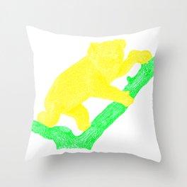 Bright Australian Native Wildlife - Yellow Koala Illustration Throw Pillow