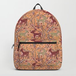 Deer & Doe in Woodland Fern Forest , Cute Stag meets his Love hidden among the Plants Backpack