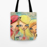 sisters Tote Bags featuring Sisters by SannArt