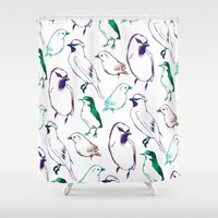sia Shower Curtains featuring Coloured Birds by Elena O'Neill