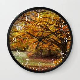 Colorful autumn in the forest of Canfaito park, Italy Wall Clock