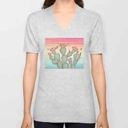 ruby throated hummingbirds & prickly pear cactus Unisex V-Neck