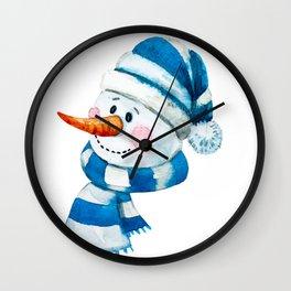 Blue Snowman 01 Wall Clock