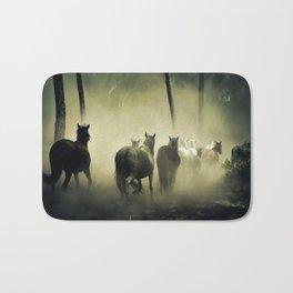 Herd of Horses Running Down a Dusty Path Bath Mat