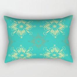Ornamental Geometric in Turquoise and Gold Metallic Look Rectangular Pillow