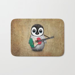 Baby Penguin Playing Mexican Flag Guitar Bath Mat