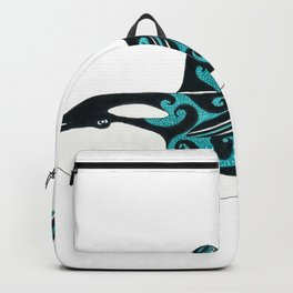 Dancing Orca Whale Ink & Marker Art Backpack