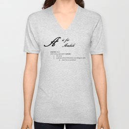 A is for Arsehole, Minimalist Elegant Dictionary Style Bad Language Typography Unisex V-Neck