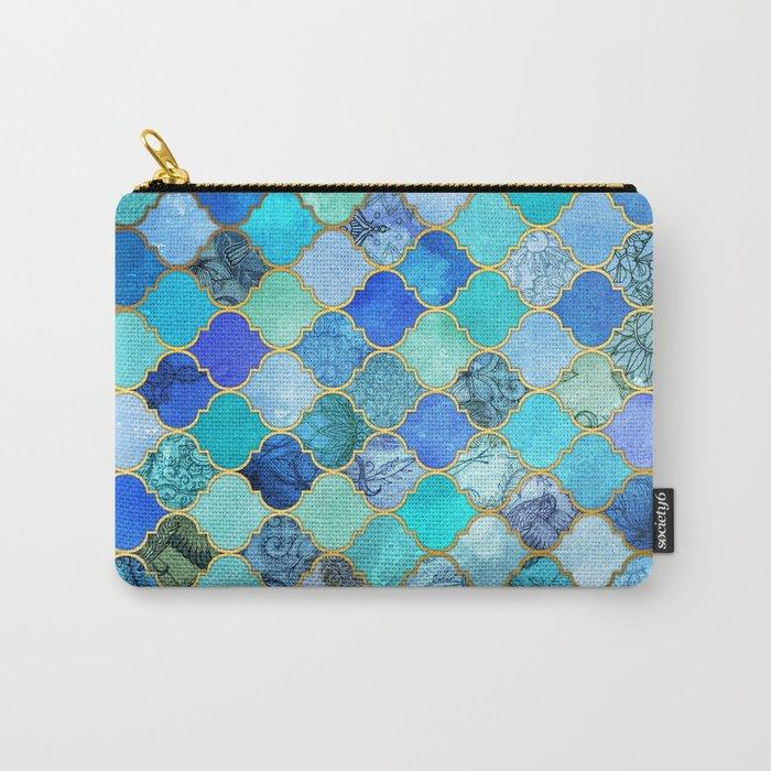 Cobalt Blue, Aqua & Gold Decorative Moroccan Tile Pattern Carry-All Pouch