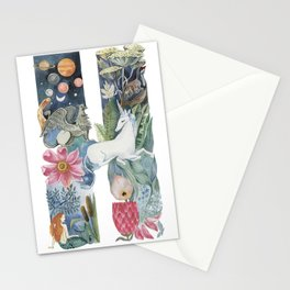 fairy tale alphabet. Letter H with unicorn Stationery Cards