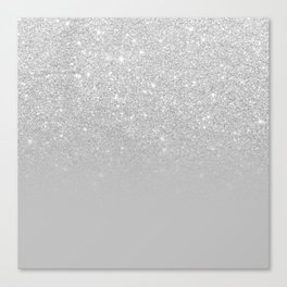 Trendy modern silver ombre grey color block Canvas Print