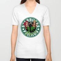 starbucks V-neck T-shirts featuring Starbucks Friends  by Ellador
