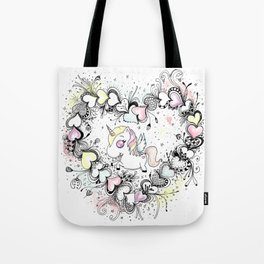 Unicorn and Hearts Art Illustration Tote Bag