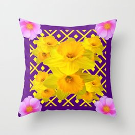 Wild Roses Gold Daffodil Purple Pattern Throw Pillow
