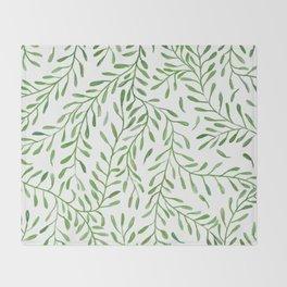 Vivid Green Tendril Botanical Watercolor Pattern Throw Blanket