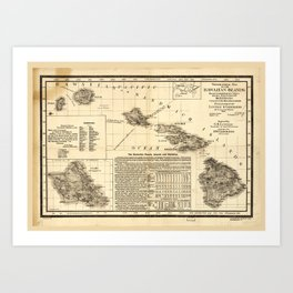 Topographical map of the Hawaiian Islands (1893) Art Print