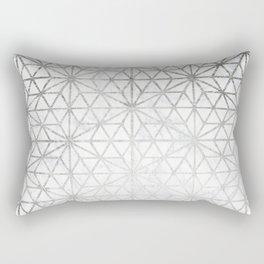 Modern silver stars geometric pattern Christmas white marble Rectangular Pillow
