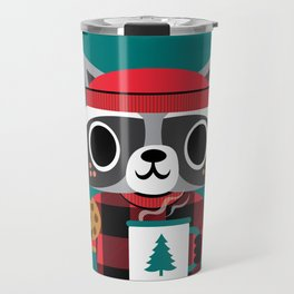 Raccoon in Red Buffalo Plaid Sweater Travel Mug