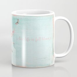 Live life in full bloom - Romantic Spring Cherry Blossom butterfly Watercolor illustration on aqua Coffee Mug