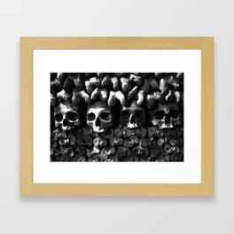 Skulls - Paris Catacombs, black and white version Framed Art Print