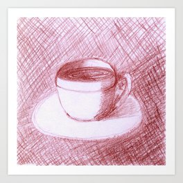 Coffee Cups Collection - #5 Coffee cup - Maroon Art Print