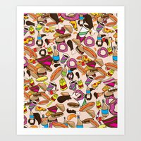 junk food Art Prints featuring Cartoon Junk food pattern. by Nick's Emporium