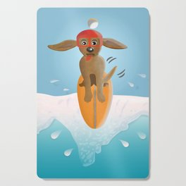 Surf Dog on Top of the Wave Cutting Board