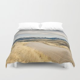 The Road to Snowy Mountains Duvet Cover