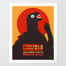 Godzilla Welcomes You to Monster Island, Gojira Art Print