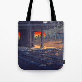 Vintage Japanese Woodblock Print Colorful Fall Trees Shinto Shrine Japanese Architecture Tote Bag
