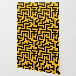 Black and Amber Orange Labyrinth Wallpaper