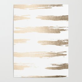 Simply Brushed Stripe White Gold Sands on White Poster