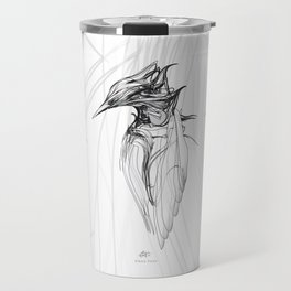Kingfisher-1a. Black on white background-(Red eyes series) Travel Mug