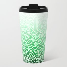 Ombre green and white swirls doodles Travel Mug