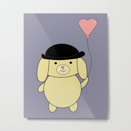 Yellow Dog in Bowler Hat with Heart Balloon Metal Print