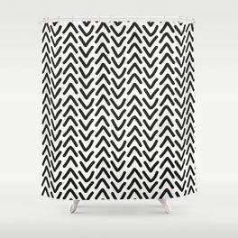 chevron black on white geometric pattern Shower Curtain