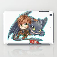 hiccup iPad Cases featuring Httyd 2 - Chibi Hiccup and Toothless by ibahibut
