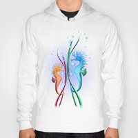 cartoon Hoodies featuring Seahorses Cartoon by BluedarkArt