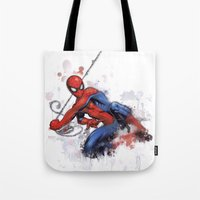 spider man Tote Bags featuring Spider-Man  by Isaak_Rodriguez