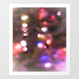 Colored Lights, Bokeh, White, Blue, Pink, Art Print