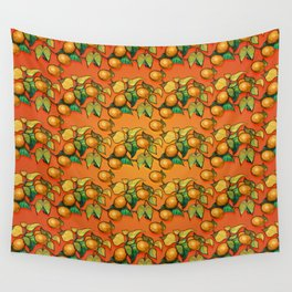 """""""Coral Sunset over Lemon tree Pattern"""" Wall Tapestry"""