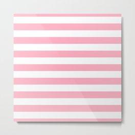 Palm Beach Pink Horizontal Tent Stripes Florida Colors of the Sunshine State Metal Print